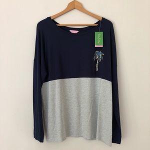 Lilly Pulitzer XL Finn Tee Shirt long sleeve palm